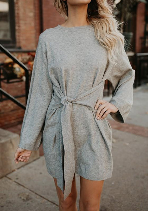 DaysCloth Grey Belt Round Neck Long Sleeve Fashion Oversized Long Pullover Sweater