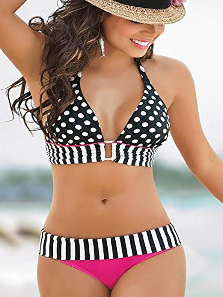 Black Contrast Stripe Polka Dot Bikini Top And Bottom