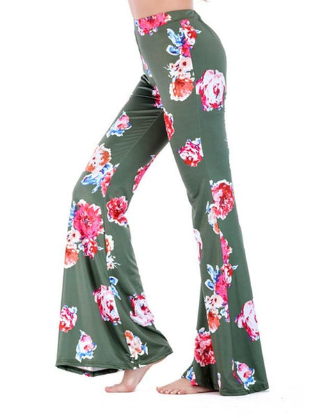 New Green Floral Print Bell Bottom High Waisted Comfy Long Pants