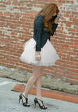 White Grenadine Pleated Fluffy Puffy Tulle Homecoming Party Sweet Skirt