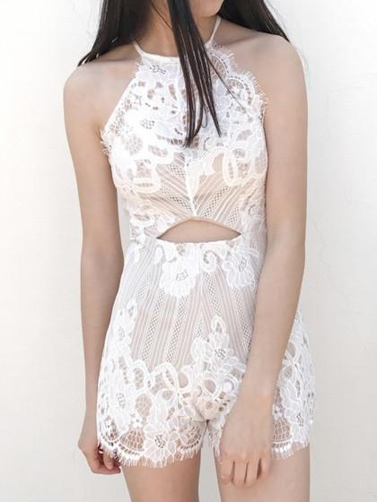White Halter Open Belly Lace Romper Playsuit