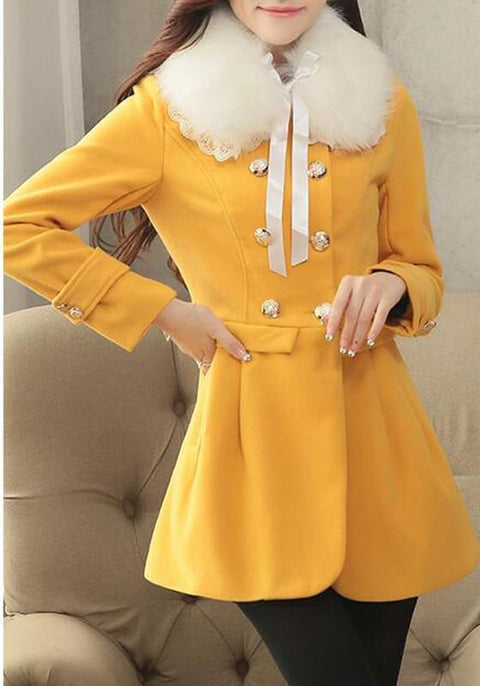 DaysCloth Yellow Patchwork Fur Collar Pockets Bow Double Breasted Long Sleeve Coat