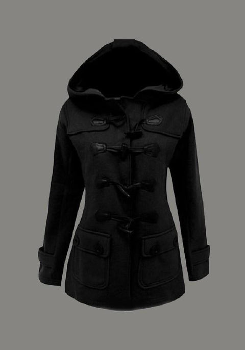 DaysCloth Black Pockets Hooded Horn Button Worsted Windbreaker Outerwear