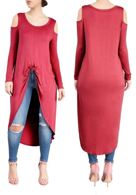 DaysCloth Burgundy Swallowtail Cut Out Off-shoulder High-low Long Sleeve Casual Midi Dress