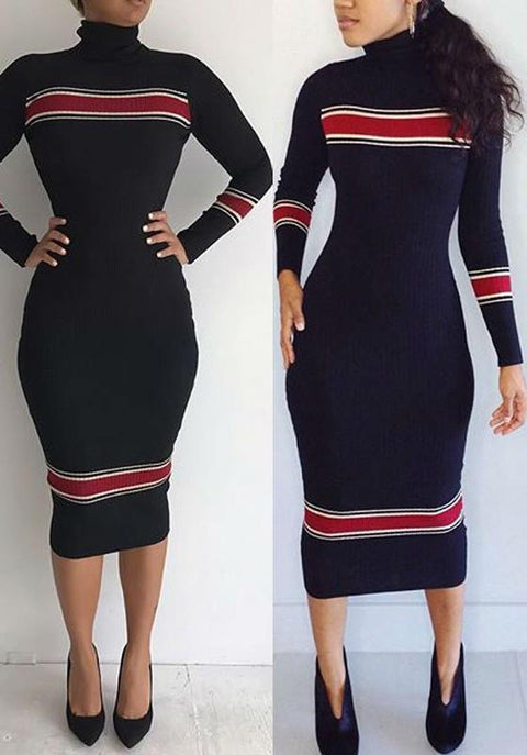 DaysCloth Black Patchwork Print High Neck Long Sleeve Bodycon Sweater Midi Dress