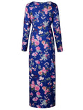 Blue Floral Long Sleeve Maxi Dress