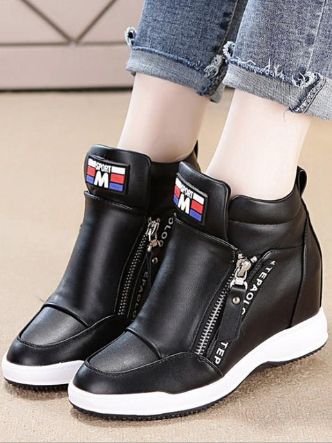 DaysCloth New Black Round Toe Zipper Casual Ankle Shoes