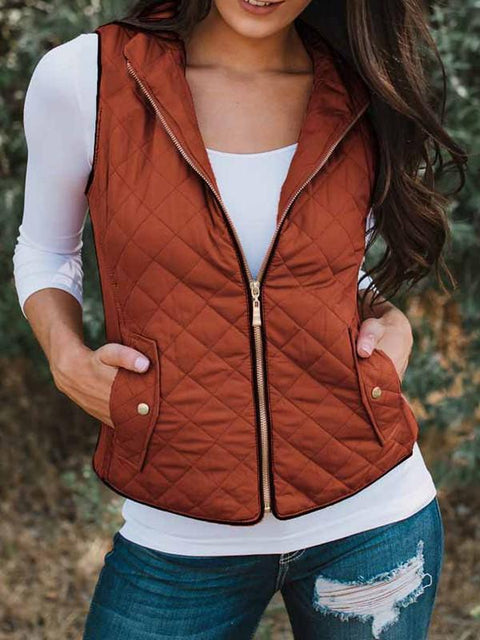 DaysCloth New Orange Zipper V-neck Casual Sweet Going out Outdoors Vest