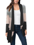 Black Color Block Stripe Open Front Drape Cardigan