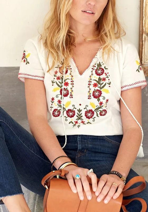 DaysCloth White Embroidery Drawstring Tassel V-neck Bohemian Mexican Cute Blouse