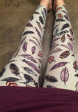 White Feathers Print High Waisted Sports Long Pants