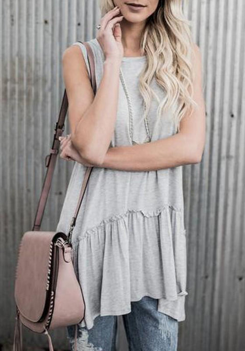 DaysCloth Grey Ruffle Draped Round Neck Casual Loose Vest