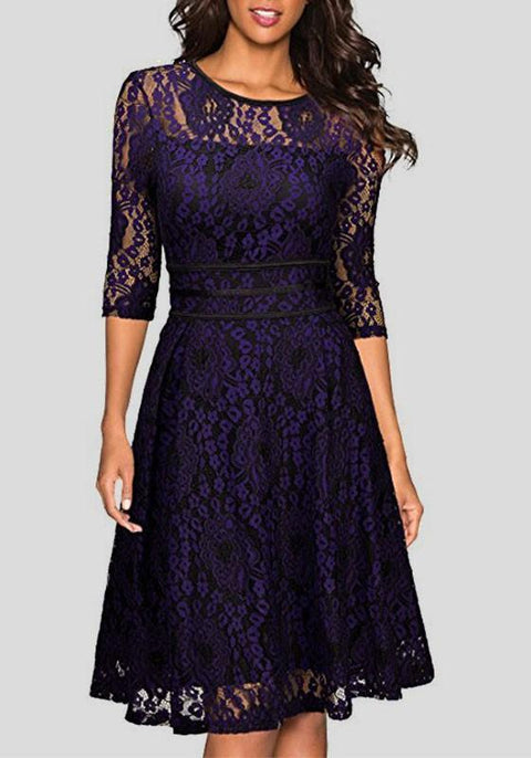 DaysCloth Purple Flowers Double-deck Lace Round Neck Elbow Sleeve Midi Dress