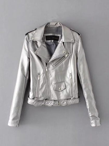 DaysCloth Silver Lapel Ultimate Leather Look Biker Jacket