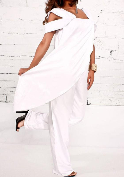 White Irregular Elastic Waist Fashion Cotton Long Jumpsuit