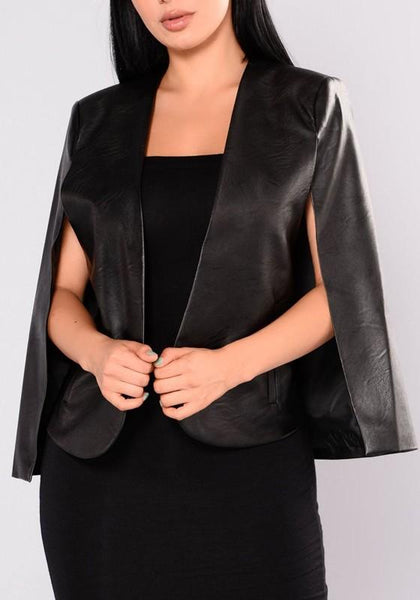 New Black Irregular PU Leather Tailored Collar Sleeveless Cloak Fashion Coat