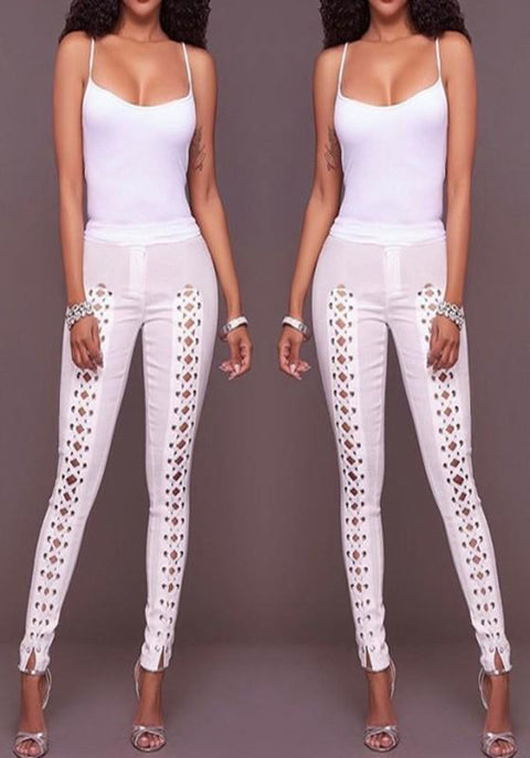 DaysCloth White Hollow-out Buttons High Waisted Stretch Yoga Slim Sock Casual Sports Legging