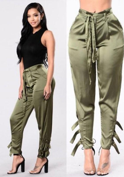 Army Green Elastic High Waist Bandage Drawstring Stain Long Trousers Pencil Pants