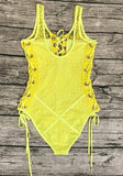 Yellow Patchwork Cut Out Drawstring Fashion Short Jumpsuit