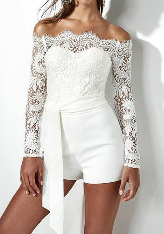 White Patchwork Lace Sashes Boat Neck Fashion Short Jumpsuit