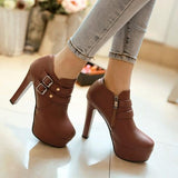 New Yellow Round Toe Chunky Double Buckles Fashion Ankle Boots