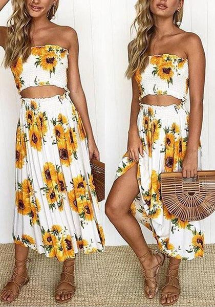 White Sunflower Print Off Shoulder Two Piece High Waisted Beachwear Bohemian Midi Dress