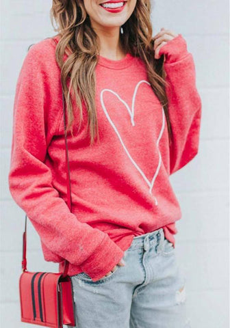 DaysCloth Red Love Print Round Neck Long Sleeve Casual Pullover Sweatshirt