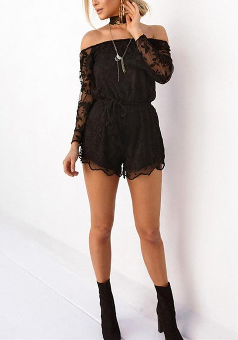 DaysCloth Black Patchwork Embroidery Grenadine Drawstring Waist Short Jumpsuit