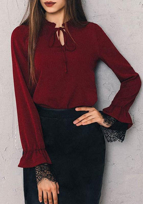 DaysCloth Burgundy Patchwork Lace Cut Out Long Sleeve Fashion Blouse