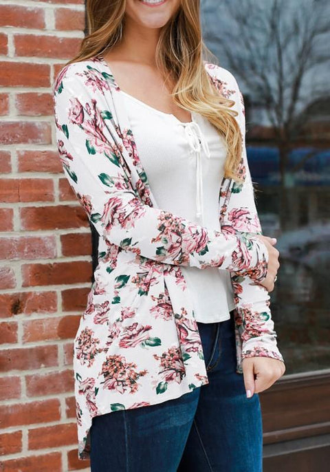 DaysCloth White Floral Draped Irregular Long Sleeve Casual Outerwear