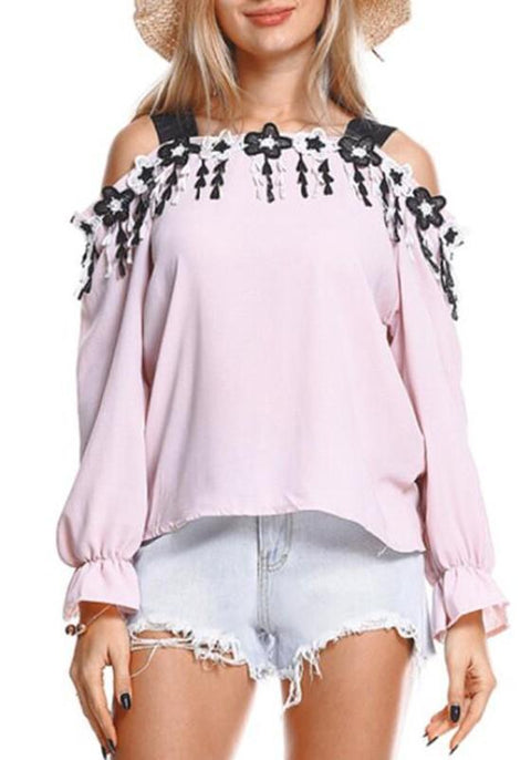 DaysCloth Pink Shoulder-Strap Backless Sweet Going out Chiffon Blouse