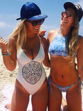 Padded One-piece Boho Bikini Hollow Swimwear