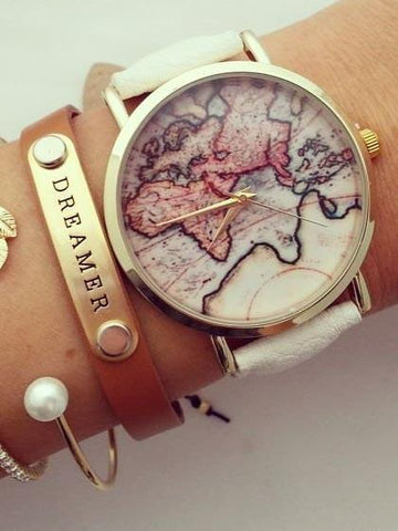 DaysCloth Vintage World Map Watch