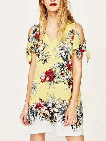 Yellow V-neck Floral Cold Shoulder Tie Sleeve Shift Mini Dress
