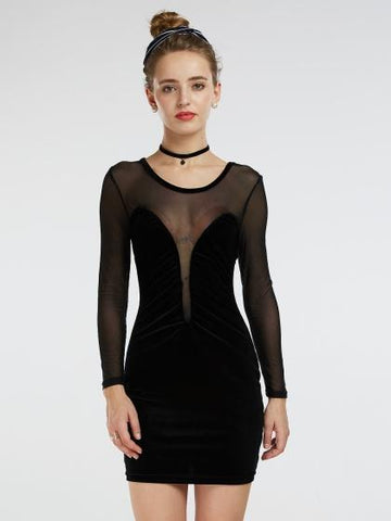 DaysCloth Black Sheer Mesh Panel Long Sleeve Bodycon Dress