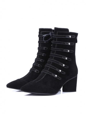 DaysCloth Black Suede Pointed Toe Strap Detail Lace Up Side Ankle Boots