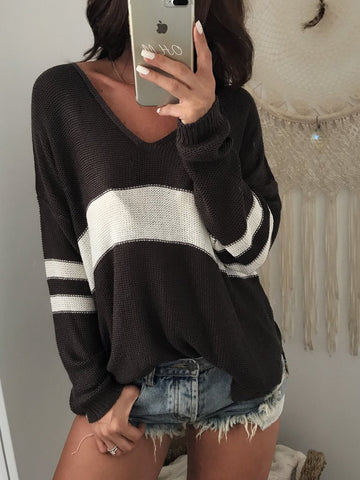 DaysCloth Black V-neck Contrast Detail Long Sleeve Knit Sweater