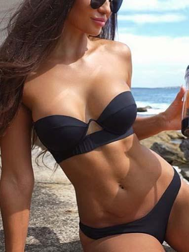 Black Bandeau Bikini Top And Bottom