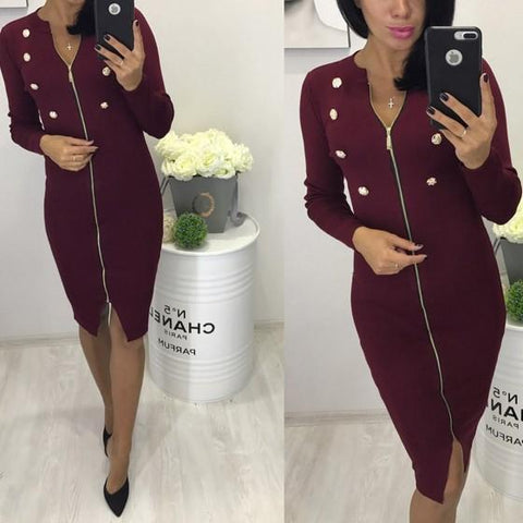 DaysCloth Red Zipper Studded Cut Out Long Sleeve Fashion Midi Dress