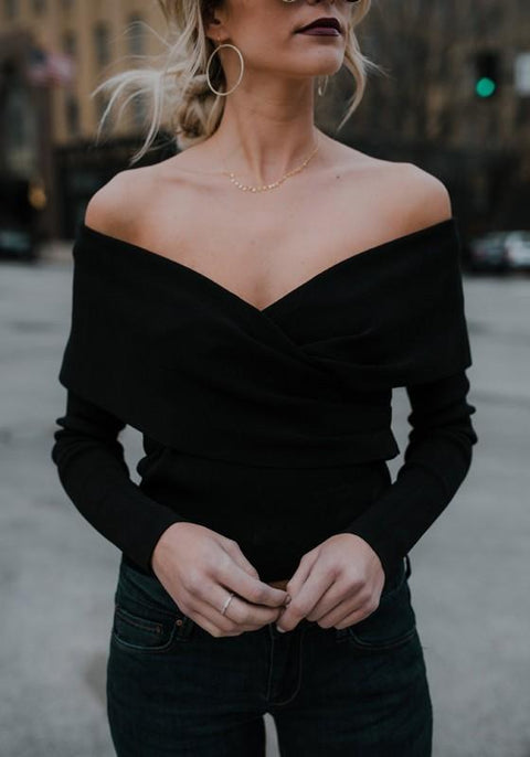 DaysCloth Black V-neck Off Shoulder Long Sleeve Fashion Pullover Sweater