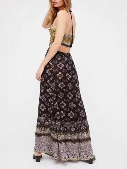 Black Halter Cut Out Open Back Wide Leg Boho Jumpsuit
