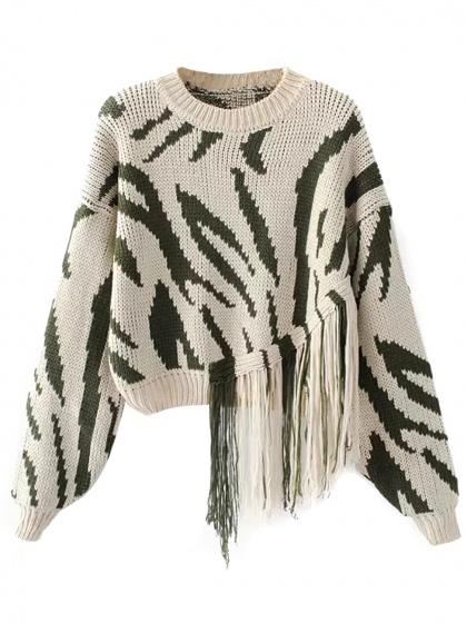 Beige Tassel Detail Long Sleeve Chunky Knit Sweater