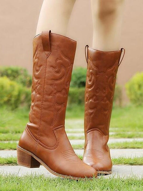 DaysCloth New Brown Round Toe Chunky Fashion Mid-Calf Boots