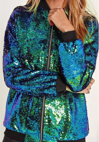 DaysCloth Green Patchwork Sequin V-neck Zipper Long Sleeve Fashion Jacket