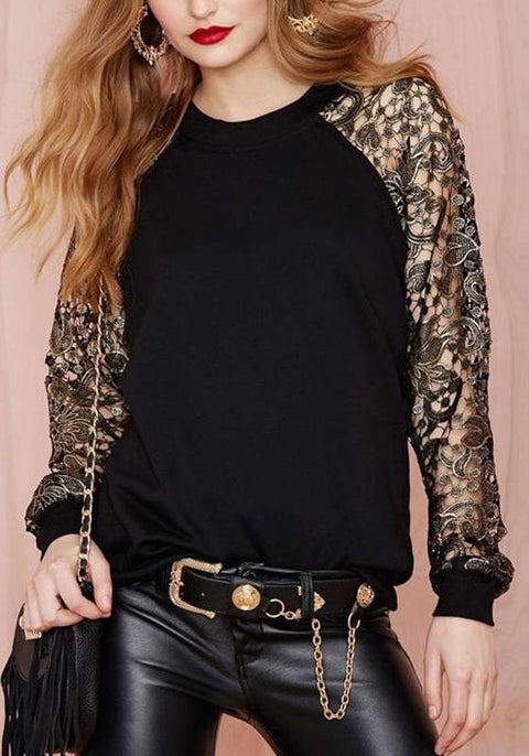 DaysCloth Black Patchwork Embroidery Round Neck Long Sleeve Casual Pullover Sweatshirt