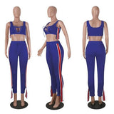 Blue Striped Lace-up Drawstring Waist High Waisted Two Piece Casual Long Jumpsuit