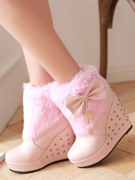 New Pink Round Toe Wedges Bow Rivet Sequin Fashion Ankle Boots