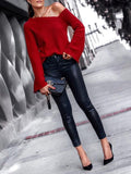 New Red Irregular One Shoulder Flare Sleeve Oversized Casual Pullover Sweater