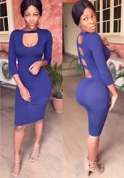 DaysCloth Navy Blue Cut Out Backless 3/4 Sleeve Bodycon Club Wear Midi Dress
