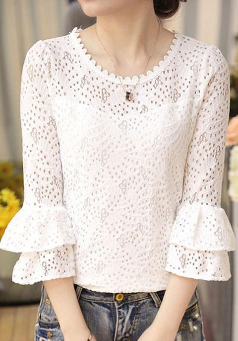 DaysCloth White Cut Out Ruffle Flare Sleeve Sweet Cute Going out Blouse